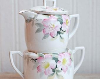 Vintage Cream Sugar, Noritake Pink Azalea Pattern, Hand Painted Fine China, Sugar Bowl Creamer,  Wedding Bridal Gift