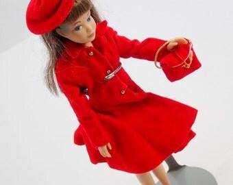 Brown Hair Brunette Skipper Doll With Red Silk n Fancy Velvet Coat Hat Shoes Purse Vintage Mod Barbie Mattel Clothes Accessories Lot