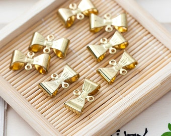 Vintage Bow Connectors Aged Gold Plated Brass Bow Connector Beads Findings 15mm