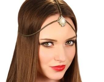 Bronze Crystal Chain Boho Gypsy Headpiece