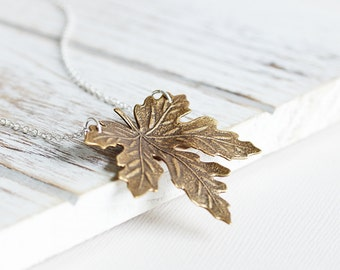 Maple Leaf Necklace - Antiqued Brass Leaf Pendant Necklace with Silver Plated Chain, Two Tone Fall Necklace, Simple Autumn Jewelry (40mm)