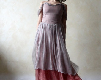 Alternative wedding dress, bridal gown, colored wedding dress, boho wedding dress, pink wedding dress, chiffon dress, fairy wedding dress