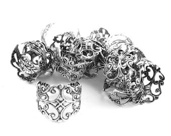 4pcs Antique Silver Adjustable Ring Blank - Oxidized Silver Filigree Ring - Adjustable Silver Ring - Ornate Vintage Rings - Vintage Rings