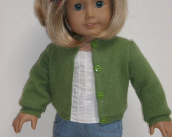 GREEN CASHMERE SWEATER Molly or Emily 18 inch doll clothes