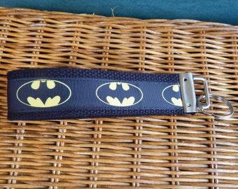 Batman Key Fob Wristlet Key Chain - Batman Grosgrain Ribbon on Black Cotton Heavyweight Webbing