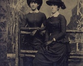 Two Women in Wonderful BLACK VICTORIAN Dresses with Matching Black FEATHER Hats Tintype Photo Circa 1880s