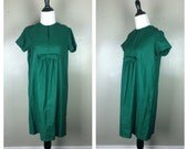 60s Green Dress / 1960s Shift Dress / Bow Dress / Holiday Party Dress / Short Sleeve Dress Melody M L
