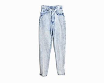 Vintage 90s Acid Washed Jeans / High Waist White Denim / Zipper Ankle Jeans - women's xs