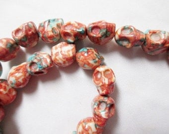 SKULL BEADS - 33 Skulls Ceramic Bead Orange Turquoise Marbled Tribal Goth Gothic Halloween 10mm x 12mm