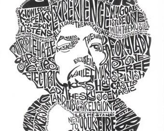 Jimi Hendrix Black and White 8.5 x 11 Word Portrait Print