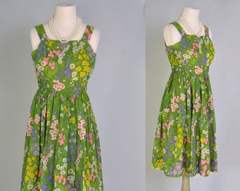 Vintage Sleeveless Dress 60s Designer Miss Elliette Tea Dress XS S