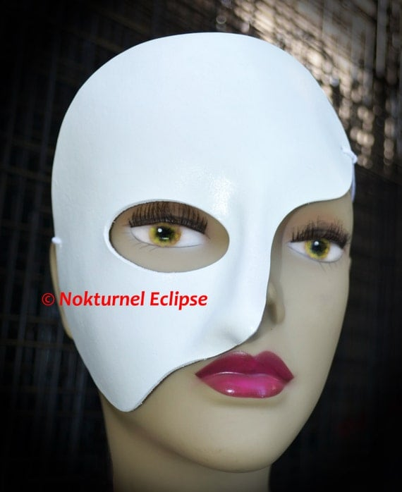 Phantom of the Opera White Leather Half Mask Theater Halloween Costume Masquerade Party Cosplay UNISEX - Available in Any Basic Color