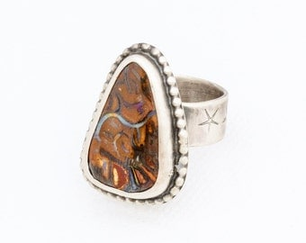 Boulder Opal Statement Ring in Sterling Silver Size 7