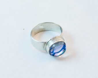 Dichroic Glass Ring in Sterling Silver Size 6