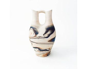 Vintage Large Nemadji Wedding Vase / Pottery / Blue and Brown Swirls