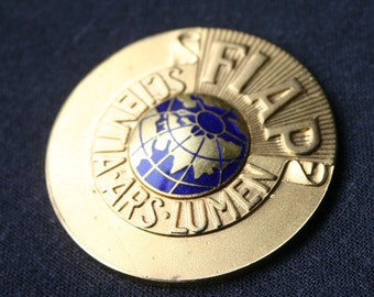 Golden globe 1983. Vintage FIAP Photographic Alliance eighties souvenir medal.