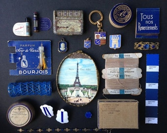 Souvenirs from a night in Paris vintage blue Pantone inspired instant collection. Fabulous find for mixed media creation and jewelry supply.