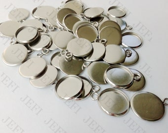 50 Pendant Trays Stainless Steel 8mm/ 10mm/ 12mm/ 14mm/ 16mm/ 18mm/ 20mm Round Bezel Setting W/ Ring Wholesale Pendant Base Mountings