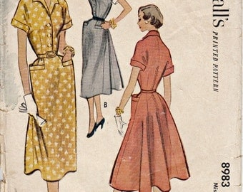 1952 Wing Collar Dress Pattern Hip Welt Pockets  McCALL'S 8983  Front Button Bodice Back Gored Skirt  Bust 36