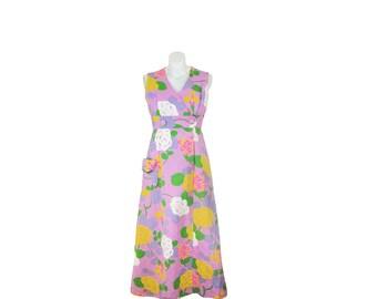 1960s Maxi Dress • 60s Floral Dress • Full Length • Spring Summer M / L