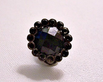 Monet Black Faceted Stone Single Replacement Clip On Earring Smoke Metal Vintage Crystal Edge Comfort Paddle