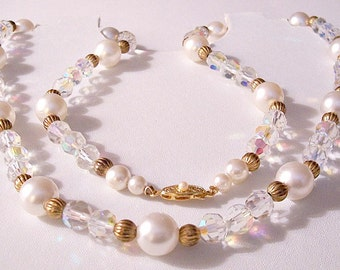 Rock Crystal Pearl Bead Strand Necklace Gold Tone Vintage Japan Iridescent Aurora Borealis Decorative Ribbed Spacers Slide In Clasp Closure