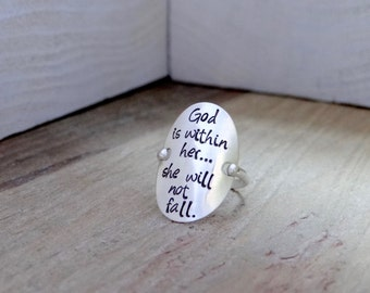 "Hand Stamped Sterling Silver Ring with ""God is within her...she will not fall."" Inspirational,Christian, boho chic Jewelry."