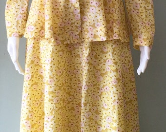 1970's yellow flower maxi skirt and jacket
