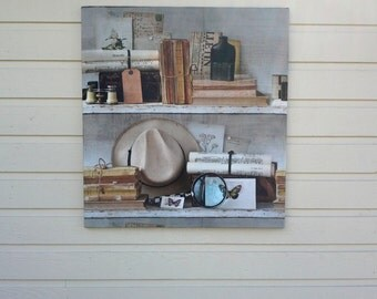 Pin Board or Wall hanging with a trompel'oeil  bookshelf image in a beautiful linen blend fabric for your library or mans den, office decor