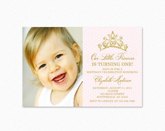 Princess Birthday Party Invitation, Princess Tiara Birthday Party Invitation, Pink, Gold Glitter, Printable or Printed