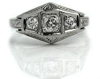 Antique Three Stone Engagement Ring .65ctw Antique Mine Cut Diamond Ring 1920s 18K Ring Art Deco Unique Ring Filigree Ring Size 7!