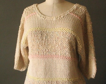Vintage 80's Natural and Pastel Stripes Short Sleeve Knit Pullover Sweater