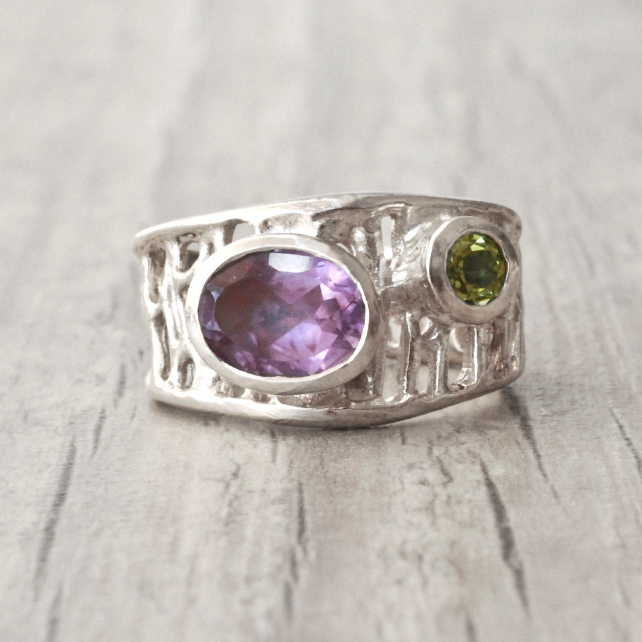 amethyst ring sterling silver wide band amethyst and peridot. Black Bedroom Furniture Sets. Home Design Ideas