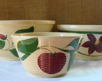 3 VINTAGE WATT Hand Painted Bowls Assorted 3 Bowls Apple, Cherry Blossom, Starflower Bowl Advertising Bowls Retro Kitchen Mixing Bowl Watt