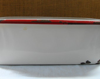 VINTAGE  Red & White ENAMELWARE  Rectangular Covered Metal Box Covered Pan Refrigerator Medical Box Mid Century Doctors Office Retro Kitchen