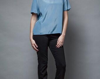 vintage slinky secretary top blouse scalloped edges smoke blue S M SMALL MEDIUM