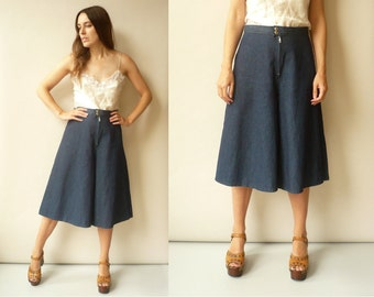 1990's Vintage Blue Denim Wide Leg Culottes Size Medium
