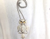 vintage large owl necklace dangle moving pendant