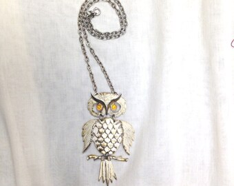 vintage large owl necklace dangle moving pendant