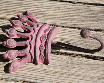 Cast Iron Pink Crown Hook, Nautical, Iron, Royal, Rustic, Princess, Home Decor, Hang