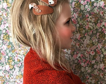 Felt Hair Clip, Fox woodland, Fall Hair Bows, giddyupandgrow