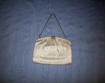 Evening Bag Little Clutch Purse Chain Handle Silver Lame Fabric Silver Clasp