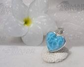 Larimar pendant, Royal Love - Navy blue Larimar heart, blue heart, volcanic blue, royal blue, heart pendant, turtleback, handmade pendant