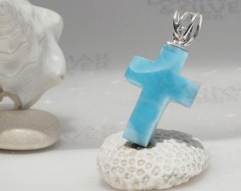 Larimar cross pendant by Larimarandsilver, Faith in Heaven - azure Larimar, blue cross, faceted cross, Swiss blue, handmade Larimar pendant