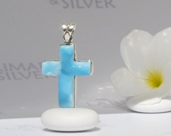 Larimar cross by Larimarandsilver, Sign from Heaven - azure Larimar cross, blue cross, sky blue, catholic cross, handcrafted Larimar pendant