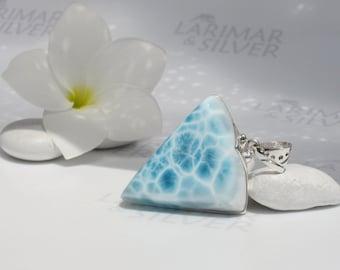 Larimar pendant, Atlantis Triad - aqua Larimar triangle, turtleback, surf pendant, topaz blue, water blue triangle handmade Larimar pendant