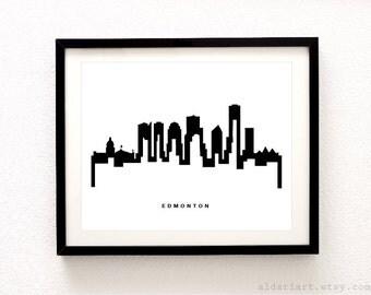 Edmonton Skyline Print - Edmonton Cityscape Print - Edmonton Wall Art - Modern Black and White Wall Art - City Print - Aldari Art