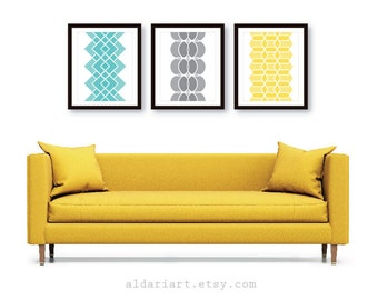 Geometric Prints - Mid Century Modern Wall Art - Set of 3 - Modern Home Decor - Geometric Art - Blue Grey Yellow Colors - Choose Your Colors