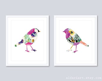 Bird Prints Bird Wall Art Floral Bird Art Watercolor Bird Art Modern Bird Art Prints Bedroom Wall Art Bird Nursery Wall Art Set Of 2 Prints