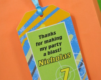 Boys Birthday Party Favor Tags, Dart Blaster Gun Birthday Party Favor Tags, Laser Tag Birthday Party Favors, Thank You Tags - Set of 12
